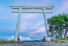 White Torri Gate With Beautiful Ocean View In Gaoshi Shrine Park, Pingtung, Taiwan