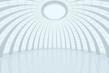 Round Hall Architecture Background, 3d Rendering.