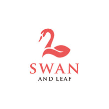 Swan And Leaf Logo Design Vector