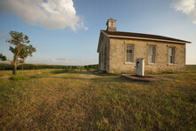 Old School House In The Open Prairies Of Kansas