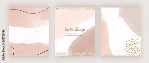 Abstract mid century design backgrounds with watercolor shapes, golden glitter c фототапет