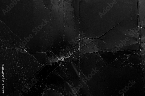 Shabby black paper with creases and dust Canvas Print