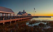 Charleston, South Carolina, United States, November 2019, The Sunrise Over Charleston Harbour Bay And The Pier