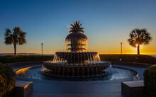 Charleston, South Carolina, United States, November 2019, The Sunrise Over Charleston Waterfront Park And The Pineapple Fountain