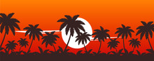 Palm Trees On Sunset Vector Tr...