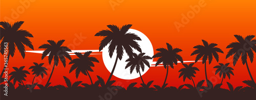 Fototapeta palm trees on sunset vector tropical beach illustration obraz