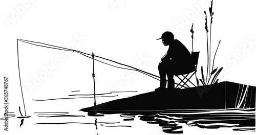 Canvas Print silhouette of a fisherman