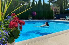 Swimming Pool Backyard Woman R...