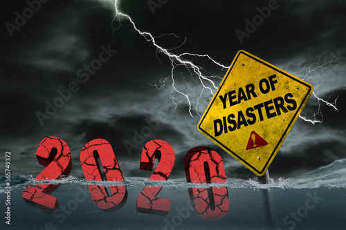 Carta da parati 2020 Year of Disasters Concept Due to Covid-19, Economic Recession and Natural D