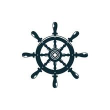 Retro Handwheel Isolated Navigation Symbol. Vector Steering Wheel With Handles, Control Shipwheel