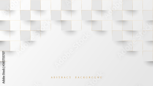 Obraz Abstract White and Lines Gold 3D Geometric Pattern Background. Luxury Stacked Box. Vector Illustration - fototapety do salonu