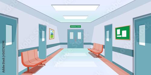 Photo Hospital Hallway Emergency Room Cartoon Background Illustration