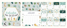 Cute Safari Calendar 2021 With Lion, Giraffe, Zebra, Fox, Monkey For Children, Kid, Baby