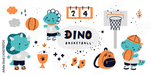 Obraz Childish collection with cute dino characters. Dinosaur animals playing in basketball. Sportive kids in school competitions. Vector cartoon doodle set with elements for design - fototapety do salonu