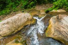 Mountain River Rushing Over Boulders