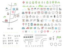 かわいい手描きの地図アイコン