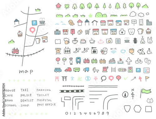Fotomural かわいい手描きの地図アイコン