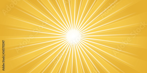 Fototapeta Vintage pop art rays sun light yellow white presentation background. Sunny banner vector illustration. abstract summer background with sun. Sunshine orange sky. White warm sunlight. obraz
