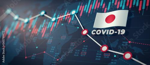 Fototapeta COVID-19 Coronavirus Japan Economic Impact Concept Image. obraz