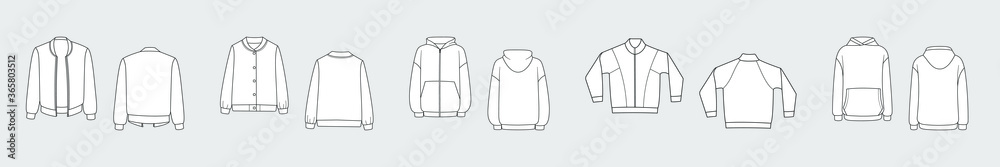 Fototapeta Female hoodie, sweatshirt, pullover. Vector template set isolated on a grey background. Front and back view. Outline fashion technical sketch of clothes model.