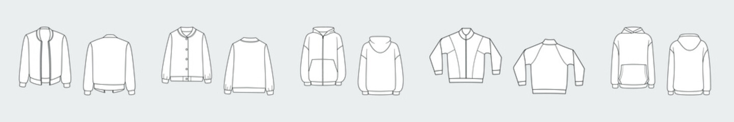 Female hoodie, sweatshirt, pullover. Vector template set isolated on a grey background. Front and back view. Outline fashion technical sketch of clothes model.
