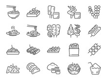 Thai Street Food Line Icon Set. Included The Icons As Dumplings, Skewer, Sausage, Grilled Chicken Wings, Asian Style, Fruit Bowl, Pad Thai And More.