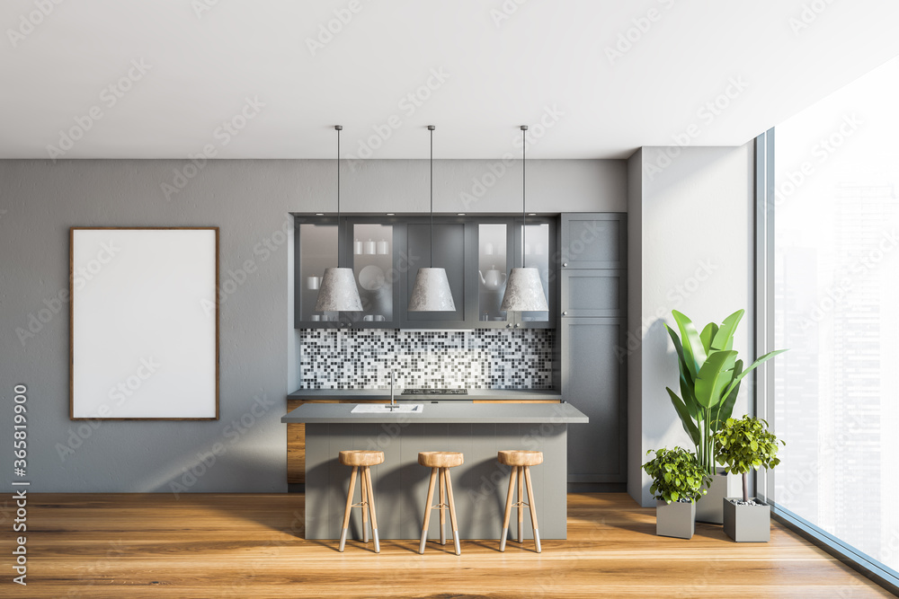 Fototapeta Panoramic grey kitchen with bar and poster