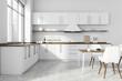 Leinwandbild Motiv White kitchen interior with dining table