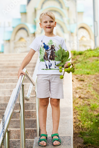 Portrait of a young blonde little boy in summer park Wallpaper Mural