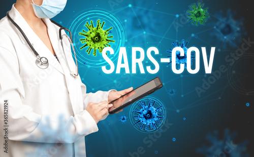 doctor prescribes a prescription with SARS-CoV inscription, pandemic concept Canvas-taulu