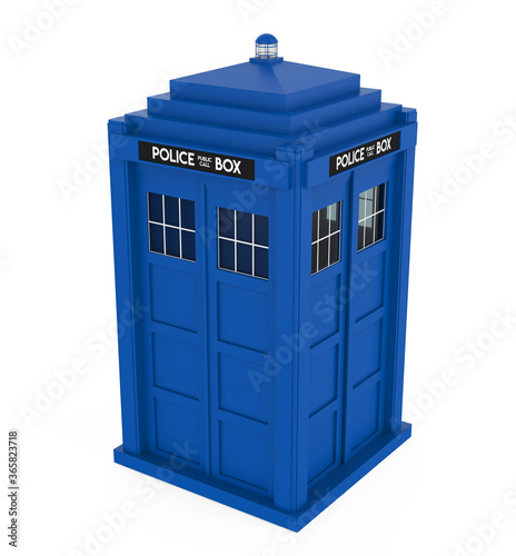 Canvas Print Police Box Isolated