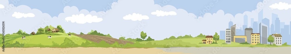Fototapeta From village to city. Vector illustration, urban and rural landscapes.