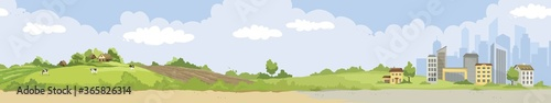 Fototapeta From village to city. Vector illustration, urban and rural landscapes. obraz