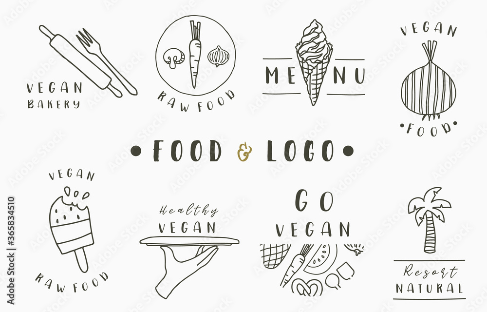 Fototapeta food logo collection with fork,ice cream,onion,coconut tree.Vector illustration for icon,logo,sticker,printable and tattoo