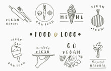 Food Logo Collection With Fork...