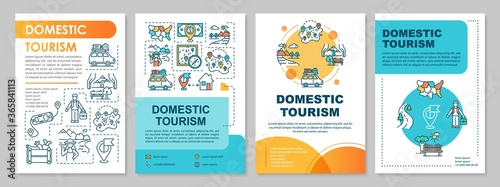 Domestic tourism brochure template. Ecotourism and leisure time. Flyer, booklet, leaflet print, cover design with linear icons. Vector layouts for magazines, annual reports, advertising posters