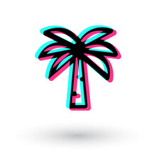 Tick Tock Palm Icon Isolated White Background. Tik Tok Summer Plans