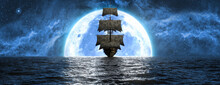 Ship At Sea Against The Background Of The Moon And The Beautiful Sky