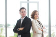 Portrait for Successful businessman and businesswoman meeting for partnership in modern office