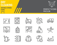 Dry Cleaning Line Icon Set, La...