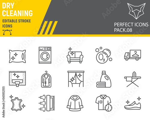 Fotografie, Obraz Dry cleaning line icon set, laundry symbols collection, vector sketches, logo illustrations, dry cleaning icons, washing signs linear pictograms, editable stroke