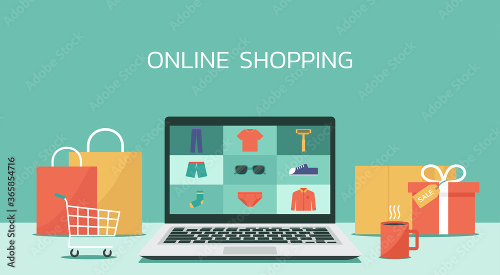 Fototapeta online shopping laptop concept, men fashion products from e-shop or digital store, vector flat graphic illustration