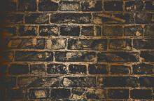 Distressed Overlay Texture Of Golden Old Brick Wall, Grunge Background.