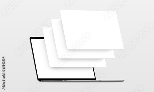 Fotografía Laptop computer mockup with blank wireframing pages