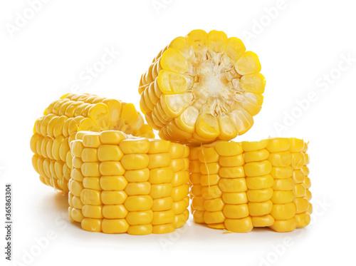 Fresh cut corn cob on white background