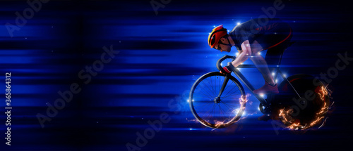 Foto Man racing cyclist on dark background. Sports banner