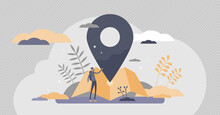 Location Services As Destination GPS Pin Point On Map Tiny Persons Concept