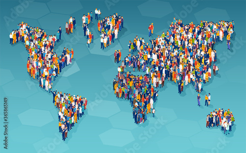 Obraz Vector of a large group of diverse people standing on a world map - fototapety do salonu