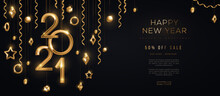 Christmas And New Year Banner With Hanging Gold 3d Baubles And 2021 Numbers On Black Background. Vector Illustration. Winter Holiday Geometric Decorations And Streamers. Place For Text