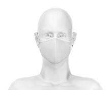 White Face Mask Mockup, Blank Dust Mask Over White Mannequin 3d Rendering Isolated On White Background